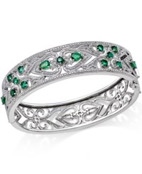 Macy's Emerald 2 1 2 Ct. T.W. And Diamond 1 3 Ct. T.W. Antique Look Bangle Bracelet In Sterling Silver