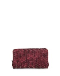 Neiman Marcus Basketweave Zip Around Wallet Burgundy
