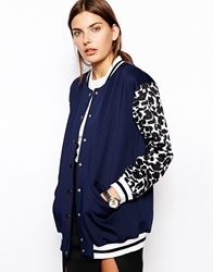 Finders Keepers Once Again Bomber With Leopard Sleeves Navyleopardprint