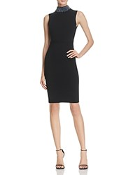 Milly Gem Collared Sheath Dress Black