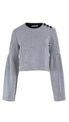 Tibi Crinkle Ribbed Knit Cropped Top