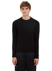 Ami Alexandre Mattiussi Ribbed Raglan Sleeve Crew Neck Sweater Black