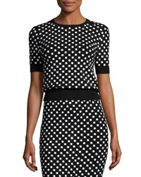 Michael Kors Polka Dot Short Sleeve Crewneck Sweater Black White Black White