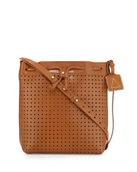 Kelsi Dagger Wythe Perforated Leather Bucket Bag Cognac