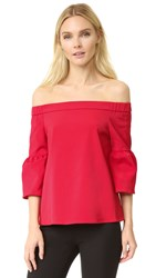 Tibi Off Shoulder Lantern Sleeve Blouse Cadmium Red