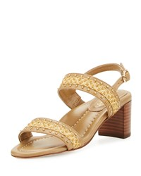 Eric Javits Stubra Straw And Leather Slingback Sandal Natural Toffee