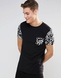Asos Muscle T Shirt In Monochrome Floral Print Sleeves And Pocket Black