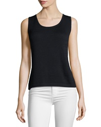 St. John Contour Scoop Neck Tank Black