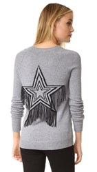 Rebecca Minkoff Premium Sweater With Fringe Star Heather Grey