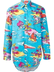 Love Moschino Lobster And Octopus Surf Shirt Blue