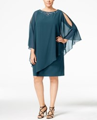 Si Fashions Sl Plus Size Embellished Capelet Dress Mid Teal