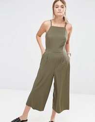 New Look Crepe Culotte Jumpsuit Green