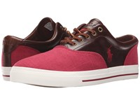 Polo Ralph Lauren Vaughn Saddle Red Tan Flax Linen Leather Men's Lace Up Casual Shoes Pink