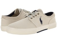 Polo Ralph Lauren Faxon Low Ivory Cavalry Twill Men's Lace Up Casual Shoes Gray
