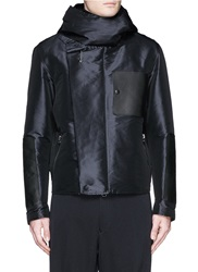 Lanvin Leather Patch Tech Satin Military Jacket Blue