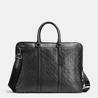 Coach Metropolitan Brief In Signature Sport Calf Leather Black Antique Nickel Black