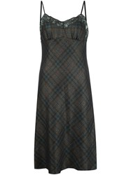Maison Martin Margiela Checked Lace Trim Dress Brown