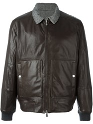 Brunello Cucinelli Double Pocket Bomber Jacket Brown