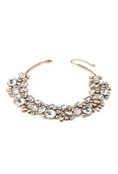 Forever 21 Rhinestone Statement Necklace Gold Clear