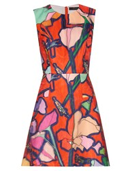 Giles Illustration Print Organza Dress