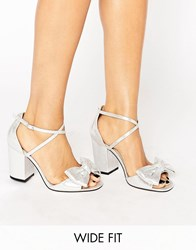 Asos Hundred Wide Fit Bow Sandals Silver