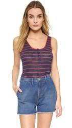 Frame Le Nautical Henley Tank Red Stripe