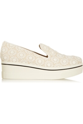 Stella Mccartney Crocheted Floral Lace And Canvas Slip On Sneakers