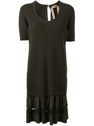 N 21 No21 Layered Ribbed Dress Green