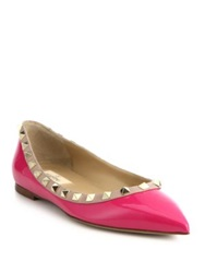 Valentino Rockstud Leather And Patent Leather Flats Fuschia