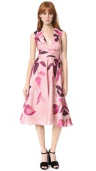 Lela Rose V Neck Dress Fuchsia Multi