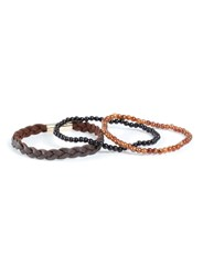 Topman Leather Plait And Bead Bracelet Pack Brown