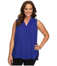 Vince Camuto Plus Size Sleeveless V Neck Blouse With Inverted Front Pleat Anchor Blue Women's Blouse