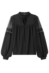 Tara Jarmon Blouse With Sheer Top Black