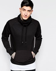 Dead Vintage Cowl Neck Sweat With Kangaroo Pocket Black