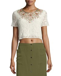 Haute Hippie Embellished Lace Crop Top Ivory Women's Size S Ant Ivoire