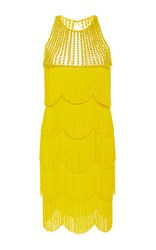 Naeem Khan Sleeveless Flapper Fringe Mini Dress Yellow