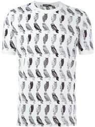 Dolce And Gabbana Owl Print T Shirt White