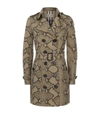 Burberry The Sandringham Long Snake Print Trench Coat Female Camel