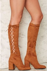 Nasty Gal Side Story Lace Up Boot Brown