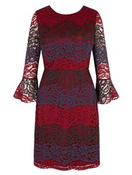Yumi Vertical Lace Dress Beet Red