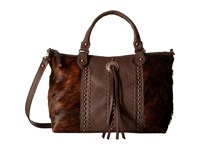 American West Cow Town Large Zip Top Convertible Satchel Chocolate Brindle Hair Satchel Handbags Brown