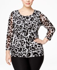 Alfani Plus Size Tiered Printed Mesh Top Only At Macy's Swirl