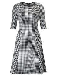 Marella Recent Houndstooth Fit And Flare Dress Black White