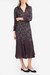 Derek Lam Silk Paisley Print Maxi Dress Midnight