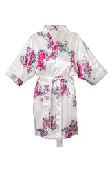Women's Cathy's Concepts Floral Satin Robe White M
