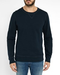 Scotch And Soda Midnight Blue Contrasting Embroidery Sweatshirt