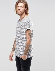 Asos T Shirt With Nepp Base In Aztec Print And Boat Neck Multi Blue