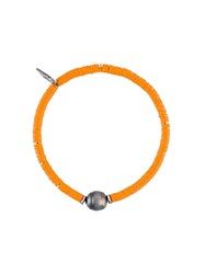 M Cohen M. Sibyl Pearl And Disk Bead Bracelet Yellow And Orange