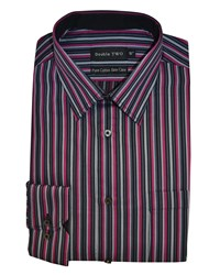 Double Two Stripe Formal Shirt Pink