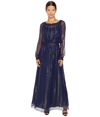 Versace Long Sleeve Gown Blue Marino
